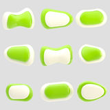 Nove botões verdes e brancos lustrosos isolados Fotos de Stock