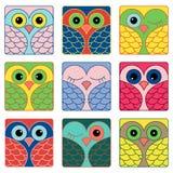 Nove caras engraçadas da coruja em formas quadradas Fotos de Stock Royalty Free