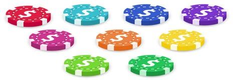 Nove chip di mazza variopinti royalty illustrazione gratis