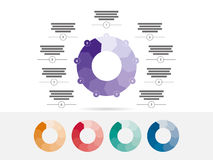 Nove coloridos tomaram partido vetor infographic da carta do diagrama da apresentação do enigma Imagem de Stock Royalty Free
