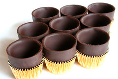 Nove copos do chocolate fotografia de stock royalty free