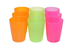 Nove copos vazios Fotos de Stock