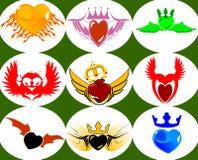 Nove corações brandnew da coroa nas asas. ilustração royalty free