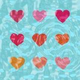 Nove corações brilhantes Ilustração Stock