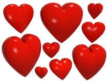 Nove corações isolados no branco ilustração do vetor