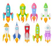Nove di razzi colorati multi dei bambini delle forme differenti Illustrazione di vettore royalty illustrazione gratis