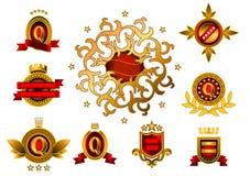 Nove emblemas amarelos Fotos de Stock
