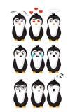 Nove emoticons dos pinguins com nove emoções diferentes ilustração do vetor