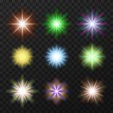 Nove estrelas coloridas ajustadas Imagem de Stock