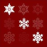 Nove fiocchi di neve Fotografie Stock Libere da Diritti