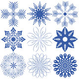 Nove fiocchi di neve Fotografia Stock