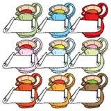 Nove frascos com etiquetas Imagem de Stock Royalty Free