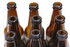 Nove frascos de cerveja. Fotografia de Stock