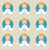 Nove fronti di emozioni del fumetto per i caratteri di vettore Immagine Stock