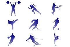 Nove generi di sport: tennis, calcio, hockey, ecc illustrazione di stock
