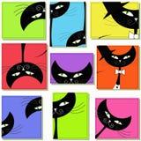 Nove icone con i gatti Fotografia Stock Libera da Diritti