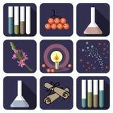 Nove icone del profumo o alchemical Immagini Stock