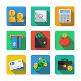 Nove icone differenti in uno stile piano Immagine Stock