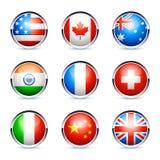 Nove icone internazionali della bandierina Fotografia Stock