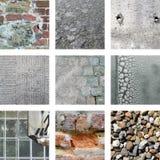 Nove imagens das pedras e de paredes resistidas Fotografia de Stock Royalty Free