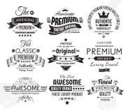 Nove insígnias ou etiquetas do vintage ilustração royalty free