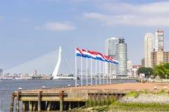 Nove mastros de bandeira com a bandeira holandesa na cabeça da península de Katendrecht com no fundo a ponte do Erasmus no Rotter imagens de stock
