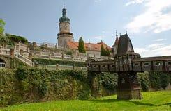 Nove Mesto nad Metuji, Czech republic. Castle and castle garden with wooden bridge from architect Jurkovic in Nove Mesto nad Metuji, Eastern Bohemia, Czech stock photos