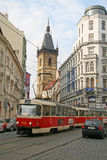 Nove Mesto or New Town of Prague. Tower of New Town Hall and a city tram. Royalty Free Stock Photo
