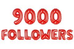 Nove mil seguidores, cor vermelha fotografia de stock