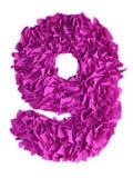 nove Numero fatto a mano 9 dai residui di colore di carta magenta Fotografia Stock Libera da Diritti