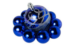 Nove palle blu di Natale Immagini Stock