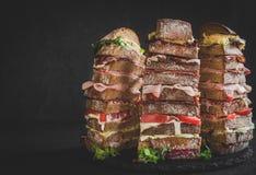 Nove panini di strati su fondo scuro Fotografia Stock