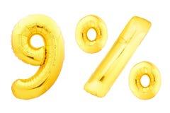 Nove per cento dorati fatti dei palloni gonfiabili Fotografie Stock