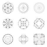 Nove projetos do esboço das mandalas Imagem de Stock Royalty Free