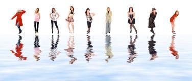 Nove ragazze riflesse in acqua Immagine Stock Libera da Diritti