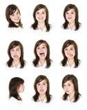 Nove retratos de uma mulher fotografia de stock royalty free