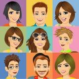 Nove retratos diversos da cara dos jovens Imagens de Stock