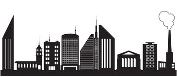 Nove silhuetas de construções da cidade Fotos de Stock Royalty Free