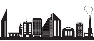 Nove siluette delle costruzioni della città Fotografie Stock Libere da Diritti