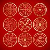 Nove simboli rotondi d'annata cinesi Immagine Stock Libera da Diritti