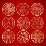 Nove simboli rotondi d'annata cinesi Immagini Stock