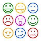 Nove smilies, ajustaram a emoção do smiley, por smilies, emoticons dos desenhos animados ilustração stock