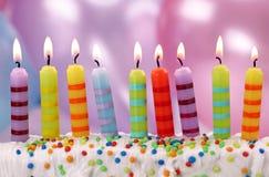 Nove velas do aniversário imagens de stock royalty free