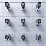 Nove videocamere di sicurezza Fotografie Stock Libere da Diritti