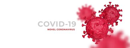 Novel Coronavirus COVID-19 3d realistic clean banner illustration template vector with copy space