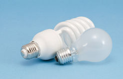 Novel fluorescent lights incandescent heat bulb Stock Photos