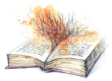 Novel. Painting of open book tells story Stock Image