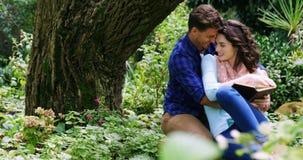 Novela romântica da leitura dos pares no parque vídeos de arquivo