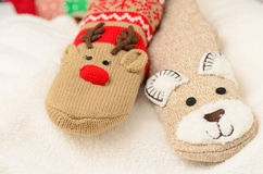 Novelty christmas socks. Wooly novelty Christmas socks Stock Image