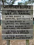 A novelty weather reporting station. A humourous novelty weather reporting station made out of weatherboard planks posted in a tourist area royalty free stock image